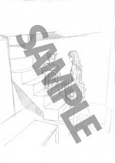 ★「森奈津子芸術劇場」<いなくなった猫の話>モノクロ絵ハガキA-2 階段2人(青年・影郎)
