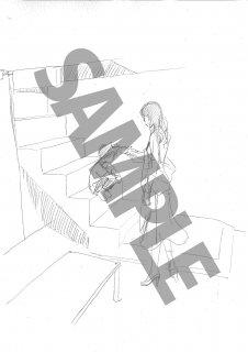 「森奈津子芸術劇場」<いなくなった猫の話>モノクロ絵ハガキA-5 二人階段(ちび影郎)