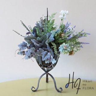 高級造花アレンジメント【サーンス】高級アートフラワー・グリーンのアレンジメントスタンドです。