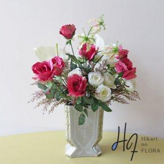 高級造花アレンジメント【シュシア】ロゼ色の薔薇で、とことん大人な美人をイメージで。