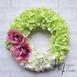光触媒加工壁掛けリース【wreath250】ローズとハイドレンジアのリースです。wreath(リース)は永遠と愛の象徴です。