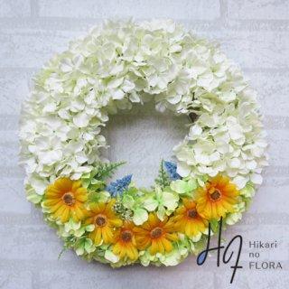 光触媒加工・壁掛けリース【wreath253】ハイドレンジアとイエローデージーの壁掛けリースです。wreath(リース)は永遠と愛の象徴です。