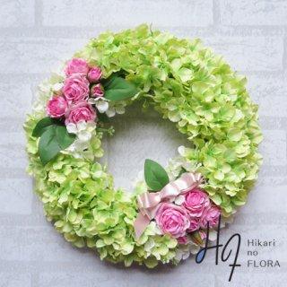光触媒加工・壁掛けリース【wreath254】ハイドレンジアと薔薇のリースです。wreath(リース)は永遠と愛の象徴です。