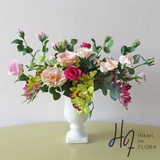 高級造花アレンジメント【フェオドラ】5種の薔薇とリアルシンビジュームでアレンジされた高級造花インテリアです。