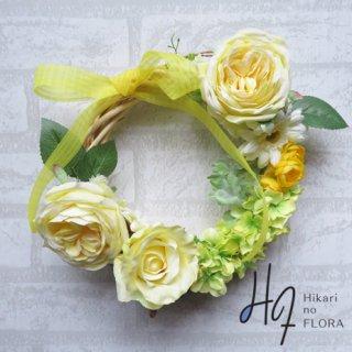 光触媒加工・壁掛けリース【wreath272】イエローのバラのリースです。wreath(リース)は永遠と健康と愛情の象徴です。