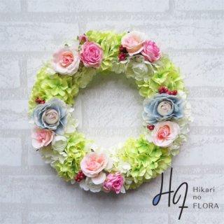光触媒加工・壁掛けリース【wreath275】ハイドレンジアとローズのリースです。wreath(リース)は永遠と健康と愛情の象徴です。