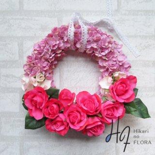 光触媒加工・壁掛けリース【wreath281】ハイドレンジアと薔薇のリースです。wreath(リース)は永遠と健康と愛情の象徴です。
