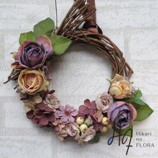 光触媒加工・壁掛けリース【wreath283】フェミニンなリースです。wreath(リース)は永遠と健康と愛情の象徴です。