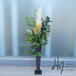 光触媒造花アレンジメント【スタンド70型RD512】パンパスグラスをアクセントに入れたナチュラル感あふれる高さ155�・横幅70�のスタンド型高級造花アレンジメントです。