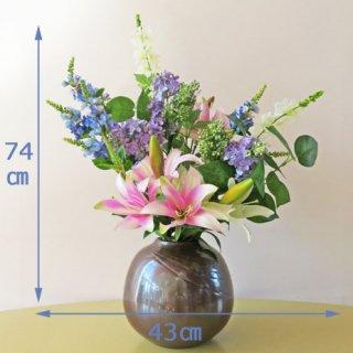 高級造花アレンジメント【ダーリヤ】七.五寸サビ釉薬花生に国内最高クラスのライラックやヒソップを入れて、ナチュラルに和風感を演出しました。