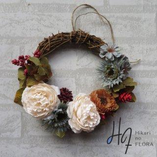 光触媒加工・壁掛けリース【wreath288】バラとガーベラや小花のリースです。wreath(リース)は永遠と健康と愛情の象徴です。