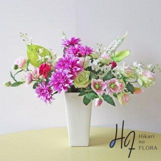 高級造花アレンジメント【クリスティーナ】零れるかのように咲く花々をイメージした高級造花アレンジメントです。