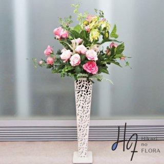 光触媒造花アレンジメント【スタンド70型RD516】バラとグロリオサ、ポトスの高さ138�の高級造花アレンジメントです。