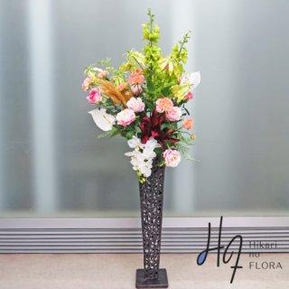 光触媒造花アレンジメント【スタンド70型RD518】色彩多めの高級造花アレンジメントです。