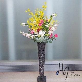 光触媒造花アレンジメント【スタンド70型RD519】オンシジュームが綺麗な高さ140�の高級造花アレンジメントです。