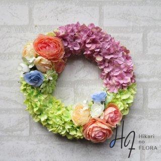 光触媒加工・壁掛けリース【wreath295】明るい色彩で壁を変えてくれるリースです。wreath(リース)は永遠と健康と愛情の象徴です。