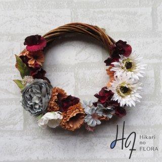 光触媒加工・壁掛けリース【wreath296】フェミニンな色彩のリースです。wreath(リース)は永遠と健康と愛情の象徴です。