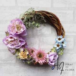 光触媒加工・壁掛けリース【wreath297】個性的な色彩のリースです。wreath(リース)は永遠と健康と愛情の象徴です。