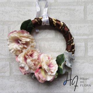 光触媒加工・壁掛けリース【wreath293】やわらかなふわふわな感じで咲いたバラのリースです。wreath(リース)は永遠と健康と愛情の象徴です。
