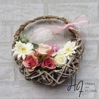 光触媒加工・壁掛けリース【wreath299】かごのリースです。wreath(リース)は永遠と健康と愛情の象徴です。