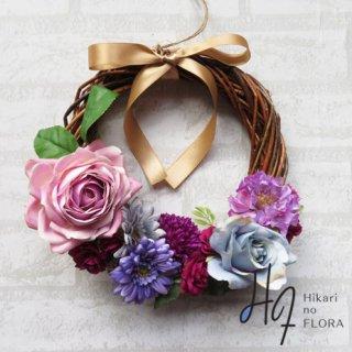 光触媒加工・壁掛けリース【wreath300】個性的な色彩のリースです。wreath(リース)は永遠と健康と愛情の象徴です。