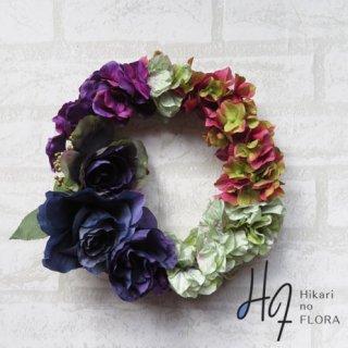 光触媒加工・壁掛けリース【wreath305】個性的な色彩が魅力のハイドレンジアのリースです。wreath(リース)は永遠と健康と愛情の象徴です。