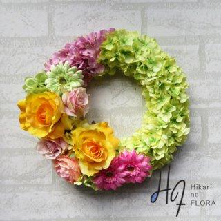 光触媒加工・壁掛けリース【wreath309】明るい色彩のリースです。wreath(リース)は永遠と健康と愛情の象徴です。