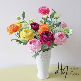 高級造花アレンジメント【ボーナ】とことんラナンキュラスの魅力を追っかけて。優しいラナンキュラスはいかがでしょうか。