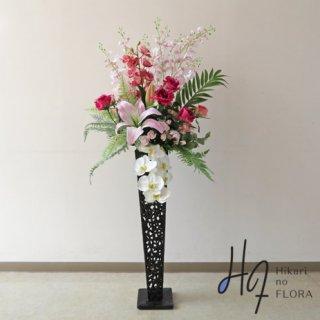 光触媒造花アレンジメント【スタンド70型RD521】クィーンカサブランカをはじめ豪華な花々が咲き誇る、高さ135�横幅60�のスタンド型高級造花アレンジメントです。