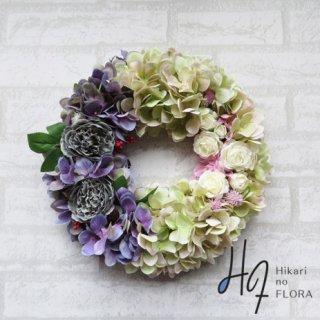 光触媒加工・壁掛けリース【wreath314】ハイドレンジアと薔薇のオシャレなリースです。wreath(リース)は永遠と健康と愛情の象徴です。