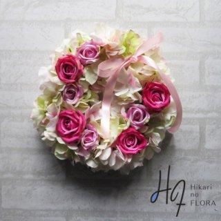 光触媒加工・壁掛けリース【wreath316】やわらかなふわふわなバラのリースです。wreath(リース)は永遠と健康と愛情の象徴です。