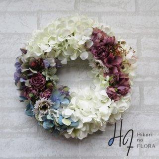 光触媒加工・壁掛けリース【wreath317】色遣いが素敵なハイドレンジアのリースです。wreath(リース)は永遠と健康と愛情の象徴です。