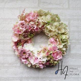光触媒加工・壁掛けリース【wreath328】ハイドレンジアのリースです。wreath(リース)は永遠と健康と愛情の象徴です。他の方とあまりかぶらない、嬉しい贈り物です。