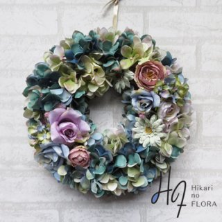 光触媒加工・壁掛けリース【wreath342】デザイン性も高いハイドレンジアリースです。wreath(リース)は永遠と健康と愛情の象徴です。他の方とあまりかぶらない、嬉しい贈り物です。