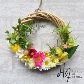 光触媒加工・壁掛けリース【wreath343】明るくかわいいリースです。wreath(リース)は永遠と健康と愛情の象徴です。他の方とあまりかぶらない、嬉しい贈り物です。