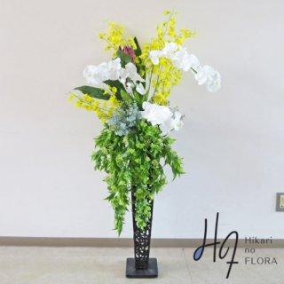 光触媒造花アレンジメント【スタンド70型RD527】手触り感リアル胡蝶蘭とオンシジュームで豪華な、高さ138�横幅70�のスタンド型高級造花アレンジメントです。