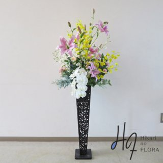 光触媒造花アレンジメント【スタンド70型RD528】立ちリリィーの姿がいい豪華な、高さ145�横幅63�のスタンド型高級造花アレンジメントです。