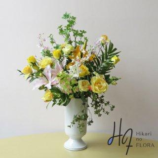 高級造花アレンジメント【マリーア】ズバッと15種の草木で生命感のある姿に、華やかにアレンジした、光触媒加工の高さ98センチの高級造花アレンジメントです。