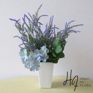 高級造花アレンジメント【ジャンナ】ラベンダーとオシャレなハイドレンジアの高級造花アレンジメントです。