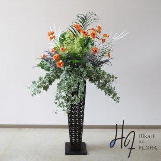光触媒造花アレンジメント【スタンド90型RD543】アートなラナンキュラスとアイビーが素敵な高さ160�横幅90�のスタンド型高級造花アレンジメントです。