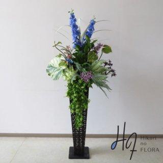 光触媒造花アレンジメント【スタンド90型RD544】グリーンの勢いがパワーをもたらしそうです。高さ160�横幅75�のスタンド型高級造花アレンジメントです。