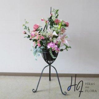 光触媒造花アレンジメント【スタンドRD545】優しいピンクの花々がオシャレな高さ105cmのスタンド型高級造花アレンジメントです。
