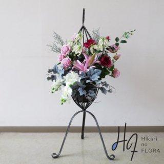 光触媒造花アレンジメント【スタンドRD546】華やかな花々がオシャレな高さ105cmのスタンド型高級造花アレンジメントです。