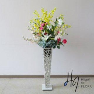 光触媒造花アレンジメント【スタンド70型RD519w】オンシジュームが綺麗な高さ140�の高級造花アレンジメントです。