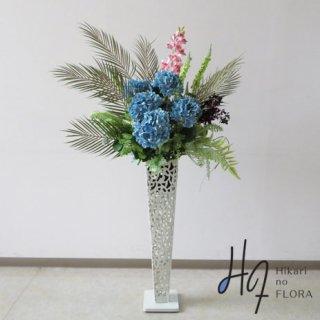 光触媒造花アレンジメント【スタンド70型RD530w】ハイドレンジアとシダ類やユーカリの高さ138�横幅65�のスタンド型高級造花アレンジメントです。