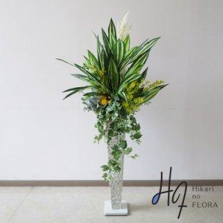 光触媒造花アレンジメント【スタンド70型RD532w】ドラセナとミモザの高さ140�横幅70�のスタンド型高級造花アレンジメントです。