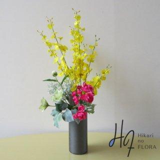 高級造花アレンジメント【ミレッラ】色遣いが特徴の美しいアレンジメントです。