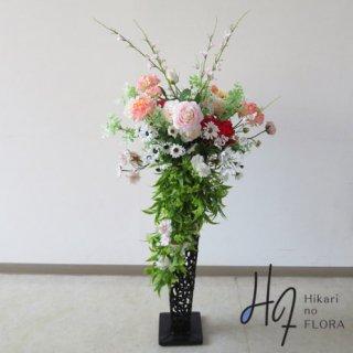 光触媒造花アレンジメント【スタンド70型RD550】おしゃれ可愛い中にゴージャスさもある、高さを抑えたスタンド型高級造花アレンジメントです。