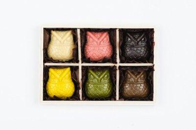 <バレンタイン限定>:OWL CHOCOLATE GIFT BOX SET (6per 1set with special wood box):梟 ローチョコレート 6個入ギフトセット(木箱入り)