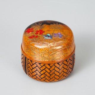 秋草蒔絵 花籠香合 (蓋黒柿)田中宗凌作